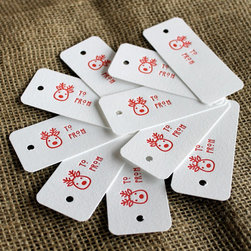 Red Reindeer Letterpress Gift Tags by Shortgrass Designs - Sometimes elegantly wrapped presents are, well, too boring for kids. You can make their presents fun with some kid-friendly labels. Plus, these letterpress tags are sophisticated enough to keep you happy.