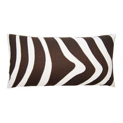Squarefeathers - Exotic, Zebra Pillow - The Exotic Collection is perfect for a large room with multiple furniture pieces. The brown tone color scheme is neutral for open areas. Made of faux linen print applique with a knife edge trim. It has a soft and pump feataher/down insert inclosed with a zipper. Like all of our products, this pillow is handmade, made to order exclusively in our studio right here in the USA.
