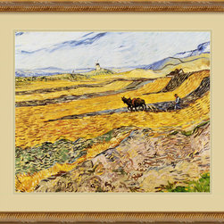 Amanti Art - Enclosed Field with Ploughman Framed Print by Vincent Van Gogh - Hang this classic print of an amber field with a ploughman by Vincent van Gogh in your study or living room. Its warm colors and bold brush strokes will transform any room. An exquisite fluted gold frame and French vanilla matting accent the artist's work.