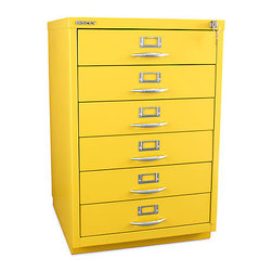 Bisley 6-Drawer Classic Front Filing Cabinet - The metal filing cabinet usually elicits a shudder from me, but things can change with a bright paint job and stylish handles. Six labelled drawers will keep your files organized, and your office will instantly feel a lot less heavy and drab.