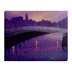 "DiaNoche Designs - Purple Mist Ha Penny Bridge Illuminated Wall Art - Illuminated Wall Art by Dianoche Designs, brings continuous art 24 hours a day. Art during the day... flip a switch, and at night, it is a light! Art by John Nolan - Purple Mist Ha Penny Bridge. Dianoche Designs illuminates artwork from behind using LED's designed to last 50,000 hours. The ""Art Today, Light Tonight"" concept gives each customer an opportunity to enjoy their artwork 24 hours a day! Dianoche Designs uses images from artists all over world and literally ""Brings to Light"" their astonishing works. Your power cord can be hidden by a simple cable organizer or cable raceway, that commonly hides speaker wire on a wall. This can be purchased at any home improvement store and you can also paint over it."