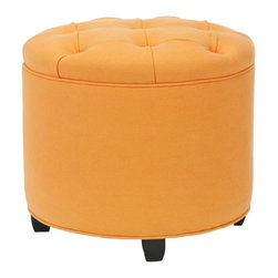 Safavieh - Charleston Ottoman - Add a bold accent color to the living room or bedroom with the Charleston tufted ottoman in a delicious shade of tangerine. Crafted with cotton upholstery, button tufting and birch legs in a chic black finish, Charleston is the perfect perch to brighten a room.