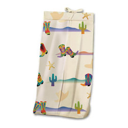 Cowboy Diaper Stacker - Cowboys and girls will love this adorable Diaper Stacker made with designer print of cactus, sheriff badges and colorful western boots of every kind. This item is completely made of cotton.
