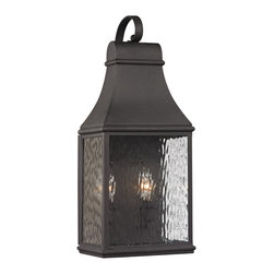 Elk Lighting - Elk Lighting Forged Jefferson Collection 2 Light Outdoor Sconce In Charcoal - 47 - 2 Light Outdoor Sconce In Charcoal - 47071/2 in the Forged Jefferson collection by Elk Lighting   Outdoor Wall Sconce (1)