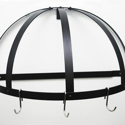 Rogar - Gourmet Half Dome Pot Rack w 5 J Shape Hooks - Wall mounted pot rack. Made from steel. Half dome shaped. Black color. 22.25 in. L x 11 in. D x 12 in. H (6 lbs.). Includes mounting hardware. No assembly required. Without grid. Powder coated and black steel. Used in smaller kitchen