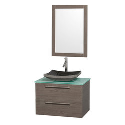 "Wyndham - Amare 30"" Wall Vanity Set in Grey Oak with Green Glass Top & Black Granite Sink - Modern clean lines and a truly elegant design aesthetic meet affordability in the Wyndham Collection Amare Vanity. Available with green glass or pure white man-made stone counters, and featuring soft close door hinges and drawer glides, you'll never hear a noisy door again! Meticulously finished with brushed Chrome hardware, the attention to detail on this elegant contemporary vanity is unrivalled.; Constructed of beautiful veneers over the highest grade MDF, engineered for durability, and to prevent warping and last a lifetime; 8-stage preparation, veneering and finishing process; Highly water-resistant low V.O.C. sealed finish; Unique and striking contemporary design; Modern Wall-Mount Design; Deep Doweled Drawers; Fully-extending soft-close drawer slides; Counter options include Green Glass, White Man-Made Stone, and Caesarstone (many colors available); Single-hole faucet mount; Available with Porcelain, Granite, and Marble vessel sink(s); Single-hole faucet mount; Faucet(s) not included; Mirror included; Metal exterior hardware with brushed chrome finish; Two (2) functional drawers; Plenty of storage space; Includes drain assemblies and P-traps for easy assembly; Perfect for small bathrooms and powder rooms; Minimal assembly required; Weight: 173 lbs; Dimensions: Vanity: 30""W x 20-1/2""D x 20-1/4""H Sink adds 5 to 5 1/2"" to height; Mirror(s): 35""L x 26""D x 3""H"