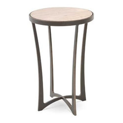 """Charleston Forge - Lotus Drink Table, Charcoal, Glass - Classic lines and sophisticated style define the Lotus Drink Table and will give your room a touch of luxury. The Louts is available in a myriad of high quality finishes to suit your home decor. You can opt for a glass top to make it trendy, or a classic wooden top in Maple or Oak wood for a more traditional look. Place beside a favorite club chair or pair two flanking the sofa for a look you're sure to love. Table measures 14.5"""" dia. x 22.75"""" H."""