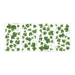 RoomMates - Evergreen Ivy Peel & Stick Wall Decals - Bring the outside in with this set of painterly ivy wall decals. Each element is precut for easy application, and can be applied to any smooth, flat surface... including tiles and appliances. Spruce up your kitchen walls or accent your windows, and when you're ready for a change, just take them down and start all over again in a new room!