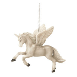 Midwest CBK - Unicorn with Glitter Wings & Horn - Mystical Fantasy Christmas Tree Ornament - White Winged Unicorn Christmas Ornament