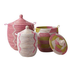 Senegalese Storage Basket - Pink, Medium