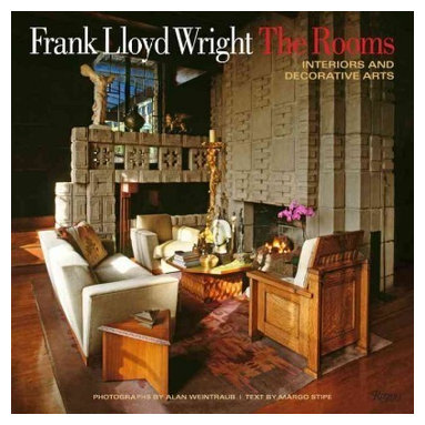 """Rizzoli International Publications - """"Frank Lloyd Wright The Rooms: Interiors and Decorative Arts"""" Hardcover - An invitation into the evocative, human-scaled, and artful interiors designed by Wright. Frank Lloyd Wright: The Rooms presents the warm interior spaces and exceptional design work of this beloved American master. Wright was an early proponent of """"total design."""" Unsatisfied with what was available in designing a given space or home, he invented what was needed, developing a language of architectural detail and styling that is unique and which extended to the tables, bookcases, easy chairs, sofas, and cabinets; to rugs and murals; to stonework; to stained glass """"light screens,"""" which served as windows, doors, and room partitions; and lighting. This approach was manifested distinctly in each of his residential projects. This book offers the reader an immersion into this work by means of extraordinary artful detail in intimately explored rooms and spaces. From the Oak Park Home and Studio in Illinois to the majestically appointed Darwin D. Martin House with its abundance of art glass, including Wright's famous """"Tree of Life"""" and """"Wisteria"""" designs, this luxurious volume ranges over the whole of Wright's oeuvre. It highlights a number of Wright masterpieces, including Hollyhock House, the mysterious Aztec-like home and arts complex built on a hill in Los Angeles; the Dana House, with its luminous """"butterfly"""" transom glass; and the fabled living room at Fallingwater."""