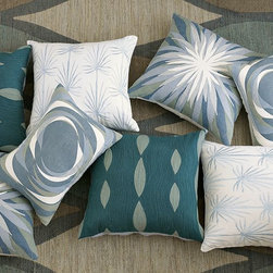 New Allegra Hicks Pillow Cover Collection - Singing the blues. Created by London-based fashion and textile designer Allegra Hicks as part of her debut west elm collection, this azure family of pillow covers was based on Allegra's watercolor studies of nature. The muted, watery color palette reflects the early-autumn hues in the southern part of her native Italy, and pairs especially well with warm upholstery and dark wood.