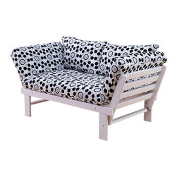 Kodiak Furniture - Elite White Futon Lounger in Well Rounded, Futon Set Without Drawer - This futon set consist of frame made of solid wood, mattress, tufted cover in Well Rounded finish, and pillows. The futon frame is made of high quality solid wood to serve for many years. The futon has 3 position: guest bed, sofa and lounger. You can add a matching drawer.