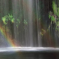 Walls 360, Inc. - Rainbow Waterfall in Forest Panoramic Fabric Wall Mural - Transform your empty walls with Walls 360's premium, repositionable wall graphics.