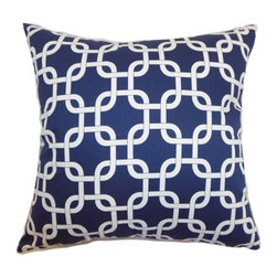 """The Pillow Collection - Qishn Geometric Pillow Blue Twill 18"""" x 18"""" - Stylize your home with this effortlessly elegant home decor. This throw pillow features a geometric print pattern with interlocking design. The blue colored background is infused with the white pattern. This accent pillow brings energy and dimension to your living room, bedroom, or kitchen. This square pillow is crafted with 100% high-quality cotton fabric. Mix and match this throw pillow with other patterns and colors. Hidden zipper closure for easy cover removal.  Knife edge finish on all four sides.  Reversible pillow with the same fabric on the back side.  Spot cleaning suggested."""