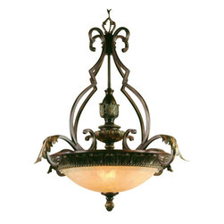 """AF Lighting - AF Lighting Provencal Traditional Inverted Pendant Light w/ Glass Shade 4531-3H - This is a brand new pendant from AF Lighting (model # 4531-3H ). Baroque influenced Inverted Pendant Light with an elegant designed framework inspired by royal light fixtures. The Golden Glow glass shade adapts to your historic influenced interior and adds a beautiful glow to the room. The Cashmere finish tops the gratefulness of this on of a kind light fixture. Pendant measures 29"""" H x 25"""" D and uses (3) 60 Watt incandescent bulbs (not included). Retail price for this light is $555.00."""