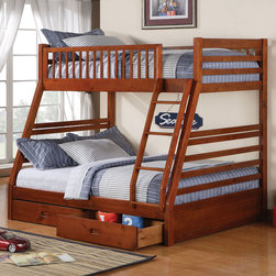 Coaster - 460183 Twin/Full Bunk Bed - Clean lines in an oak finish contribute to relaxed style, while the built in guard rail and ladder add to safety and convenience. Two under-bed storage drawers provide room for extra linens or miscellaneous items.