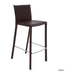 Nuevo Living - Bridget Counter Stool, Set of 2, Brown - Enjoy pub-style or bistro-style dining every day with this leather counter stool. The steel frame makes for a solid everyday stool, and the contrast stitching on the leather will have you sitting pretty and comfortably at your kitchen counter or pub table.