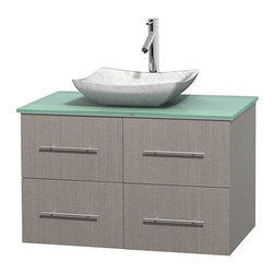 Wyndham Collection - 36 in. Single Bathroom Vanity in Gray Oak, Green Glass Countertop, Avalon White - Simplicity and elegance combine in the perfect lines of the Centra vanity by the Wyndham Collection . If cutting-edge contemporary design is your style then the Centra vanity is for you - modern, chic and built to last a lifetime. Available with green glass, pure white man-made stone, ivory marble or white carrera marble counters, with stunning vessel or undermount sink(s) and matching mirror(s). Featuring soft close door hinges, drawer glides, and meticulously finished with brushed chrome hardware. The attention to detail on this beautiful vanity is second to none.