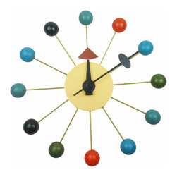Nelson Style Ball Clock - Add a bright splash of pop culture and color to any room in your house or office. Made of metal and multi-color wood balls, this gem is sure to be a conversation piece with visitors.