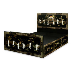 """China Furniture and Arts - Black Lacquer Queen Size Mother of Pearl Platform Bed - This beautiful platform queen-size bed is decorated with mother of pearl Chinese dancing figures through out the headboard and footboard. Black lacquer finish enhances the extraordinary beauty and opulence of this bed. There are three drawers  with interior measurements of 23.25""""W x 16.5""""D x 8""""H built on each side of the platform for your storage convenience. The headboard measures 60""""Wx50.25""""H and the footboard is 60""""W x26.25""""H. Platform comes in two pieces, each one is 80""""L x30""""W x16""""H. (Assembly required). Nightstand, dresser, and mirror sold separately."""