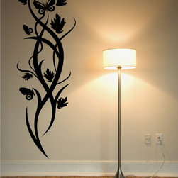 StickONmania - Butterfly Plant Design #11 Sticker - A cool vinyl decal wall art decoration for your home  Decorate your home with original vinyl decals made to order in our shop located in the USA. We only use the best equipment and materials to guarantee the everlasting quality of each vinyl sticker. Our original wall art design stickers are easy to apply on most flat surfaces, including slightly textured walls, windows, mirrors, or any smooth surface. Some wall decals may come in multiple pieces due to the size of the design, different sizes of most of our vinyl stickers are available, please message us for a quote. Interior wall decor stickers come with a MATTE finish that is easier to remove from painted surfaces but Exterior stickers for cars,  bathrooms and refrigerators come with a stickier GLOSSY finish that can also be used for exterior purposes. We DO NOT recommend using glossy finish stickers on walls. All of our Vinyl wall decals are removable but not re-positionable, simply peel and stick, no glue or chemicals needed. Our decals always come with instructions and if you order from Houzz we will always add a small thank you gift.