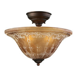 """Elk - Traditional Restoration Collection 16"""" Wide Golden Bronze Ceiling Light - The Restoration Collection was developed with a discriminating concern for preserving historic lighting and architectural designs. This semi-flushmount ceiling light features a golden bronze finish and amber glass for a handsome look. From Elk Lighting. Antique golden bronze finish. Fleur-de-Lis motif. Amber glass. Three maximum 75 watt or equivalent bulbs (not included). UL listed for damp location. 16"""" wide. 12"""" high. Canopy is 7"""" wide 1"""" high.   Antique golden bronze finish.  Fleur-de-Lis motif.  Amber glass.  Three maximum 75 watt or equivalent bulbs (not included).  UL listed for damp location.  16"""" wide.  12"""" high.  Canopy is 7"""" wide 1"""" high."""