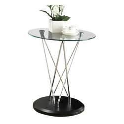 Monarch Specialties - Monarch Specialties 3002 Round Glass Top Accent Table in Chrome and Black - This accent table is functional and stylish, making it a must-have for any living room. The piece is anchored to the black base by criss-cross chrome metal legs offering sturdy support. The tempered glass top provides a convenient solution for placing picture frames or plants in your living space.