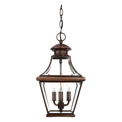 Quoizel - Quoizel Aged Copper Exterior - SKU: CAR1801AC - The historical design of the Carleton outdoor fixture will bring a handsome colonial appeal to your home. The antique style solid copper, square tapered frame with a curved top eloquently displays the clear beveled glass, adding an elegant touch to the light.