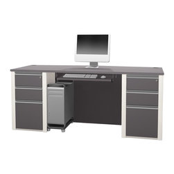 Bestar - Bestar Connexion Executive Desk Kit with 2 Assembled Pedestals in Sandstone - Bestar - Executive Desks - 9386959 - This modern modular collection offers a great variety of options that will adapt to your specific needs.