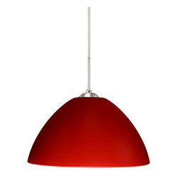 """Besa Lighting - Besa Lighting 1JC-420131 Tessa 1 Light Cord-Hung Pendant - Tessa has a classical bell shape that complements aesthetic, while also built for optimal illumination. Our Red Matte glass is a vibrant primary red pressed glass, with a white inner layer. This decor can add an edgy, classic, or contemporary feel to any room. When lit this gives off a light that is functional and energetic. The smooth satin finish on the clear outer layer is a result of an extensive etching process. This handcrafted glass uses a process where every glass is consistently produced using a press mold, keeping variations to a minimum. The cord pendant fixture is equipped with a 10' SVT cordset and an """"Easy Install"""" dome monopoint canopy.Features:"""