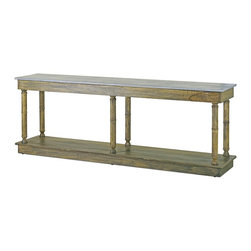 """Currey & Company - Sansom Console - Beautiful oversized console in a natural finish. Avoid positioning your furniture near a source of direct heat. Wood is """"living"""" and changes in temperature can result in cracking. We recommend placing the piece a minimum of three feet from any heat source. For everyday care, dust with a clean dry cloth. Wipe spills immediately with soft dry cloth. Always use coasters or mats. Never place cups, glasses or anything hot directly on the surface. This could cause discoloration."""
