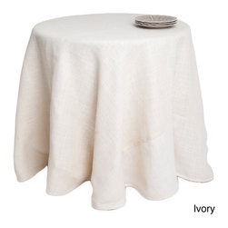None - Round Burlap Tablecloth - This lined burlap table cloth is crafted of 100-percent natural jute fiber and is available in ivory or natural tones. Perfect for adding that rustic touch to your dining environment, this durable cloth offers a natural look.