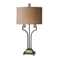 Uttermost - Larimer Rustic Bronze Table Lamp - Light up your favorite setting with art deco–inspired symmetry. This clean, classic table lamp has a distressed metallic finish and unexpected accents of polished marble.