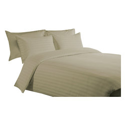 600 TC 15 Deep Pocket Split Sheet Set Striped Taupe, King - You are buying 1 Flat Sheet (108 x 102 inches), 2 Fitted Sheet (76 x 80 inches) and 2 King-Size Pillowcases (20 x 40 inches) only.