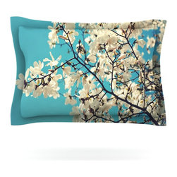 "Kess InHouse - Sylvia Cook ""White Magnolias"" Aqua White Pillow Sham (Cotton, 30"" x 20"") - Pairing your already chic duvet cover with playful pillow shams is the perfect way to tie your bedroom together. There are endless possibilities to feed your artistic palette with these imaginative pillow shams. It will looks so elegant you won't want ruin the masterpiece you have created when you go to bed. Not only are these pillow shams nice to look at they are also made from a high quality cotton blend. They are so soft that they will elevate your sleep up to level that is beyond Cloud 9. We always print our goods with the highest quality printing process in order to maintain the integrity of the art that you are adeptly displaying. This means that you won't have to worry about your art fading or your sham loosing it's freshness."