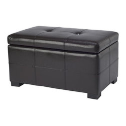 Safavieh Furniture - Maiden Tufted Leather Storage Ottoman - Contemporary style. Beautiful, tufted, bi-cast leather upholstery. Made from sturdy wood. No assembly required. 30 in. W x 18 in. D x 17 in. H (38 lbs.)This safavieh small maiden tufted leather storage ottoman perfect for any decor.