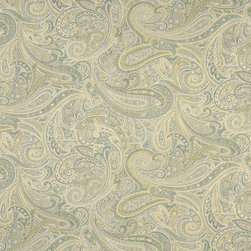 Green Blue And Ivory Paisley Contemporary Upholstery Grade Fabric By The Yard - This jacquard fabric is styled contemporary, and is woven for enhanced durability and appearance. This fabric can be used for all indoor residential upholstery uses.