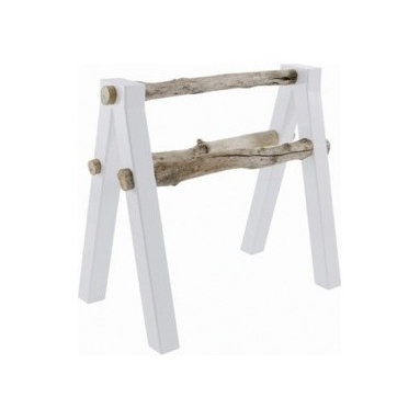 ecofirstart - Towel Rail Trestle 'Qataq' - Sleek, white lacquered legs and natural wood rails create a piece that reflects modern minimalism at its best. Versatile enough to hold towels in the bath or extra blankets and throws in the living area.