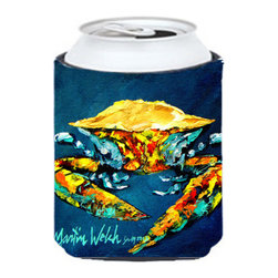 Caroline's Treasures - Crab Catch Up Can or Bottle Hugger - Can Cooler - this collapsible koozie fits 12 ounce beverage. Cans or bottles. Permanently dyed and fade resistant. Will not crack or peel. Great to show off your breed. Match with one of the insulated coolers for a nice gift pack.