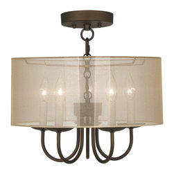 "Lamps Plus - Traditional Wynwood 16"" Wide Ceiling Light with Sheer Gold Shade - The Wynwood semi-flushmount ceiling light comes in a handsome oil-rubbed bronze finish. The design offers the classic look of a chandelier with five lights but is updated with a stylish sheer gold drum shade. A wonderfully refreshing designer look for your living space.  Oil-rubbed bronze finish. Sheer gold drum shade. Semi-flushmount ceiling light. Takes five 40 watt candelabra bulbs (not included).  15"" high.  Chandelier only is 9"" high 13"" wide. Shade is 16"" wide 7"" high. Canopy is 5 1/2"" wide. Some assembly required; instructions included.  Oil-rubbed bronze finish.  Sheer gold drum shade.  Semi-flushmount ceiling light.  Takes five 40 watt candelabra bulbs (not included).  15"" high.   Chandelier only is 9"" high 13"" wide.  Shade is 16"" wide 7"" high.  Canopy is 5 1/2"" wide.  Some assembly required; instructions included."