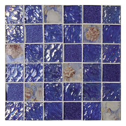 """Rhapsody In Blue. 2"""" X 2"""" Glass And Sea Shell Mosaic, Sample Swatch - Sample Swatch"""