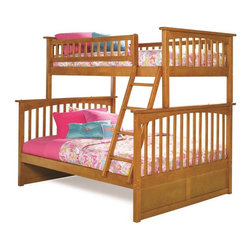 Atlantic Furniture - Columbia Bunk Bed Twin Over Full / Caramel Latte - Constructed in solid eco-friendly hardwood, in four high build durable finishes, the Columbia bunk bed has a built in modesty panel and can accommodate under bed storage drawers or a trundle. With its 26 steel reinforcement points and two 14 piece slat kits, this bed is as sturdy as they come. So many sleep options, and it creates convenient space in your child's room. This bed will surely become their favorite sleepy time fort and you can feel good about the quality and value.