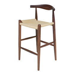Kathy Kuo Home - Quinn American Solid Walnut Wood Modern Rattan Seat Bar Stool - Beautiful, rustic wood surrounds casual woven rattan in an eclectic bar stool. This stylish seat is the perfect shape and height for long, comfortable evenings at your bar. The detailed grain of the American walnut makes each piece unique.