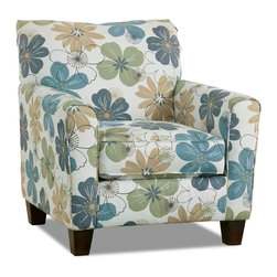 Kylee Spa Accent Chair - Wrapped in a whimsical floral print, the Kylee Spa accent chair will surely put a smile on your face with its carefree character and comfortable support. To instill subtle sophistication, the piece is appointed with dark tapered legs and welted seams.