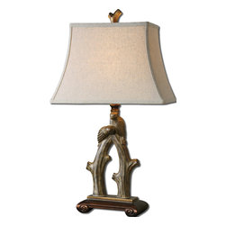 Uttermost - Uttermost Delena Table Lamp w/ Rectangle Bell Shade in Khaki Linen - Table Lamp w/ Rectangle Bell Shade in Khaki Linen belongs to Delena Collection by Uttermost Heavily burnished sand stone finish with antiqued golden bronze details. The rectangle bell shade is a light khaki linen fabric. Table Lamp (1)