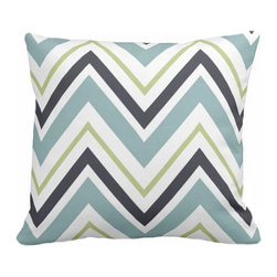 PURE Inspired Design - Chevron Organic Cotton Fabric 18 x 15 Pillow in Surf/Lime/Ink/Natural - Prepare your favorite room for a pillow with punch! This cool-colored chevron is printed on 100 percent organic fabric and features a hidden bottom zipper and sleek knife-edge seam.