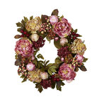 Nearly Natural - 24in. Peony Hydrangea Wreath - Here's a beautiful wreath that both a bold statement in color, but also subtle in its effect as well. The Peony flowers circle round' with buds, berries, and greens, giving a texture and hue that definitely draws the eye. Yet the colors, while bold, remain earthy in look, ensuring a stately appearance that's perfect for the holidays or year-round. At a full 24', it's sure to become one of your favorite decorations.