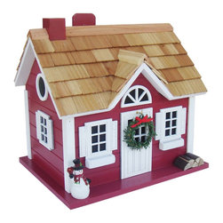 "Home Bazaar Inc - Christmas Cape Cottage - This holiday red cottage birdhouse has a cheerful snowman, removable wreath detail and and even an outdoor wood pile to feed an imaginary, in-door fireplace! The Christmas Cape Cottage is constructed of exterior grade ply-board with poly-resin details and a pine shingled roof. It's a fully functional birdhouse with removable back walls, drainage, ventilation and a 1 1/4"" entry hole. The convenient, swing-up paddle-board attached to the back makes hanging this beautiful birdhouse as easy as hanging a treasured ornament on a fresh-cut tree!"