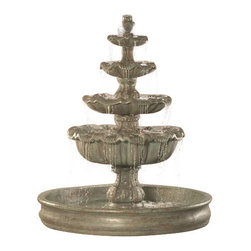 """Italian 4-Tier Fountain with 74 inches Basin, Autumn Leaf - This is a one of a kind outdoor fountain which makes a perfect addition to your outdoor setting. This lovely fountain exudes sophistication and classiness with its fine detail, streams of flowing water and a glistening pool surround make this a very elegant addition to your backyard, garden or courtyard. This exquisite cast stone fountain has been handmade in the USA by expert artisans, and is sure to become a treasured family heirloom. Make your garden the object of everyone's envy with the Italian 4-Tier Fountain with 74"""" Basin and create a peaceful atmosphere for your family."""